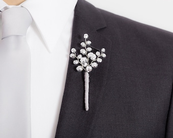 Metallic Silver Boutonniere - Fantastic Beaded Boutonniere for Weddings or Prom - Mens Wedding Boutonniere - Prom Boutonniere -