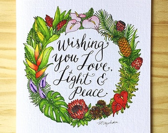 """Floral Wreath Card- """"Wishing you Love, Light and Peace"""""""