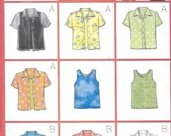 Butterick 5373 Misses' 90s Petite Shirt & Tank Top Sewing Patten Size 12 14 Bust 34 36