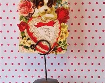 Vintage Valentine, Vintage card holder, Vintage business card holder, Gift for mom, Gift for dad