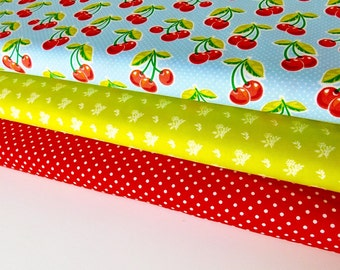 Red Aqua Cherries Bundle of 3 fabrics, CHOOSE YOUR CUT 100% cotton fabric for Quilting and general sewing projects.