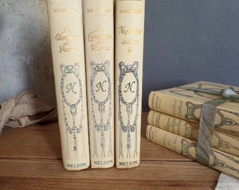 Set of 3 old french Nelson books classical litterature Paris 1900
