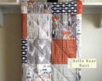 Baby Quilt Boy, Woodland Quilt, Modern, Rustic, Fox, Deer, Antler, Gray, Rust Orange, Navy, Nursery Bedding, Crib Quilt - Hello Bear Rust