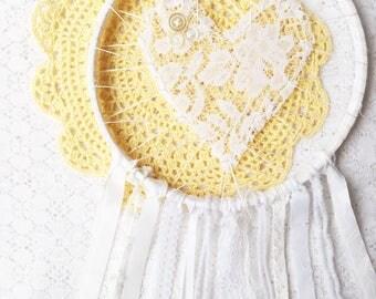 Elegant White Love Catcher, Lace Large Dream Catcher, Nursery Decor, Baby Shower Gift, Gender Neutral