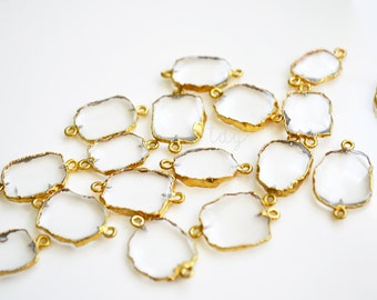Clear Natural Quartz Free Form Connector Edged in Gold, 20x13mm, Gold Dipped Quartz
