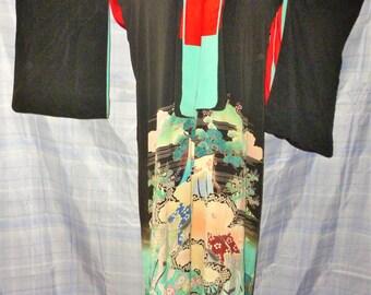 """VINTAGE Kimono, Showa Period, Geisha Hikizuri, Trailing Kuro Tomesode ,63"""" Long,Kimono, Pre-War,  Silk Linen Kimono"""