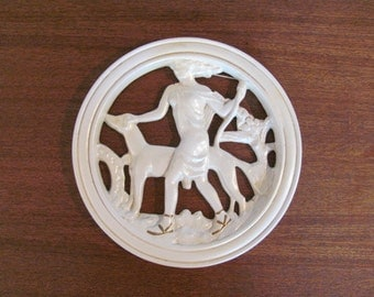 """Vintage 60's """"Artemis"""" """"Diana"""" Plaster Wall Hanging Plaque - Home Decor - Art - Greek History - Roman History - Collectible Plate"""