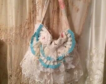 Layered Lace Purse, shabby n chic bag romantic white laces ruffled light blue lace embellished handmade TatteredDelicates fabric bag