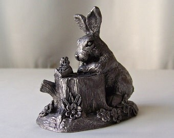 Vintage Pewter Bunny Dale Signed Numbered Michael Ricker 1983 Miniature Pewter Sculpture With Certificate of Casting