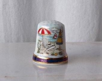 Vintage Porcelain Thimble Panama City Beach Florida Thimble Collector Sewing Room Florida Souvenir 1990s