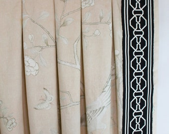 Schumacher Mary McDonald Chinois Palais Inverted Pleated Drapes with Malmaison Tape (shown in Blush Conch-comes in other colors)