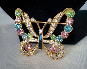 Crystal Butterfly Brooch, gold tone, multi color crystals - 1.5 Inches