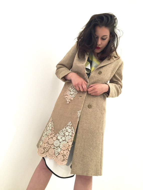 Spring Overcoat Trench Wool Canvas and Lace/ Coat LOLA DARLING 30/Woven Raw Canvas/ Made in Italy from Sixties Vintage Garment base Not Used