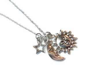 SALE - Sun, Moon, and Stars Charm Necklace