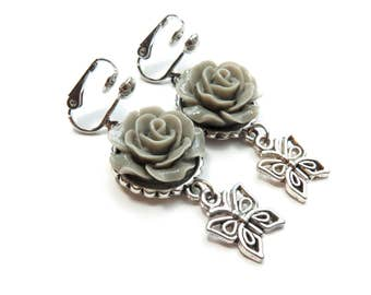 Grey Roses Clip-On Earrings