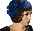Retro Hat, Cloche Hat, Blue Black Knit Hat, Flapper Hat, 1920s Hat, Great Gatsby, Boho, Beanie, Retro Hat, Flower Holiday Gift For Her