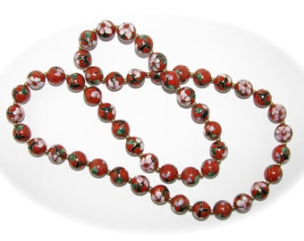 Vintage CLOISONNE RED Beaded NECKLACE Gold Pink Flower Black Green Accent 30 Inch