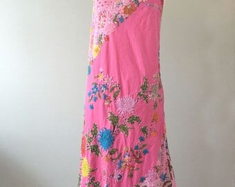 Beaded Halter Dress, Beaded Pink Dress, Asymmetrical Dress Medium
