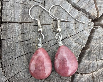 Rhodonite Teardrops . Earrings