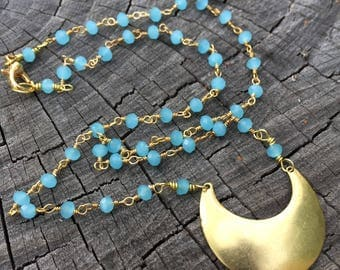 Aqua Blue Chalcedony Beaded Chain . Brass Crescent Moon . Necklace