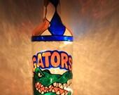 University of Florida Lighted Bottle Upcycled Hand painted Florida Gators