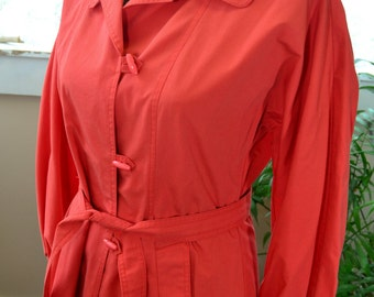 Vintage Red Womens Trench Coat Miss Dannimac - L