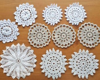 10 Vintage Crochet Doily Medallions, Small Craft Doilies, 2.5 through 4 inch Doilies, White, Beige, Ecru, Cream Natural Colors