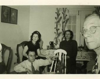 "Vintage Photo ""Photobombing Grandpa"" Snapshot Antique Photo Old Black & White Photograph Found Paper Ephemera Vernacular - 113"