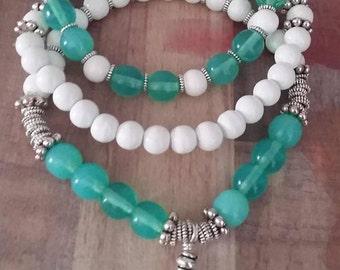 bracelet set, three piece stretch bracelet set, beaded bracelet set, semiprecious stone jewelry,  boho jewelry set, stretch charm bracelet