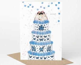 Pug Wedding Card, Pug Civil Ceremony Card, Mrs & Mrs (lesbian wedding card, dog wedding card, tattoo wedding card, pug engagement card)