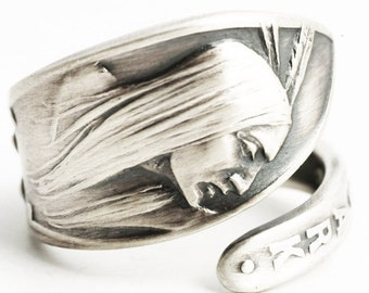 Native American Ring, Sterling Silver Spoon Ring, Hot Springs Arkansas Ring, Arkansas Jewelry, Indian Ring Gift, Adjustable Ring Size (6283)