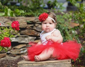 Valentines Day Baby tutu and Headband Set, Red Baby Tutu Outfit for Valentines Day