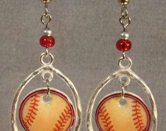 Worn Baseball Hoop Earrings - Baseball Mom Jewelry - Spirit Wear Jewellery