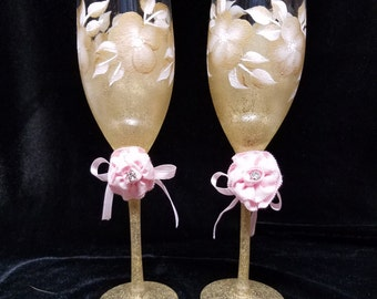 Hand Painted Champage Glasses, Glitter Gold Pink Fabric Flowers