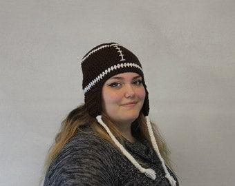 Crochet Football Hat / THE FOOTBALL EARFLAP