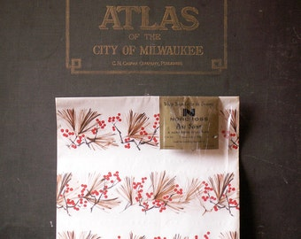 Vintage Norcross Wrapping Paper Package - Holiday Pine and Berry Theme - Perfect Winter Gift Packaging