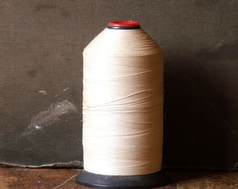 Vintage Industrial Size Large Spool of White Glace Finish Thread