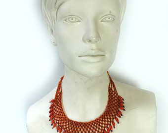 Vintage 1980s orange and navy seed glass bead mesh bib boho necklace