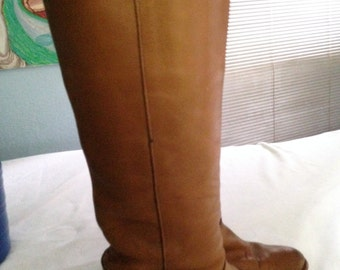 Women's Vintage Fry Boots Size 6 Medium, 1980's Fry Boots, Vintage Brown Boots, Retro Tan Leather Boots