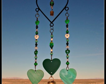 Wrought Iron Windchime-Stained Glass-Heart Wind Chime
