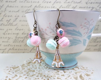 Paris Eiffel Pastel Macaron Rose Earrings - Split Personality Designs