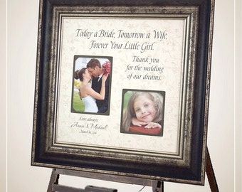 Personalized Wedding Thank You Gift for Dad, Today A Bride Tomorrow A Wife Forever Your Little Girl, Thank You Gift For Parents, 16 X 16