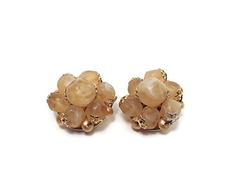 Yellow Vintage Clip on Earrings Beaded Cluster Gold Tone Hong Kong Mid Century