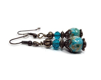 Teal Blue Earrings Filigree Vintage Style Antiqued Brass Boho Jewelry Dangle Drop Beaded