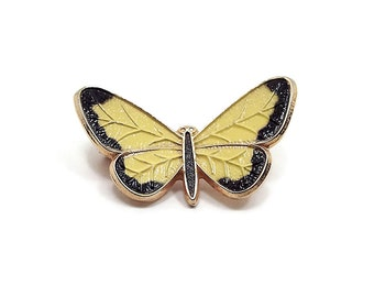 Small Vintage Butterfly Brooch Yellow Black Enameled Gold Tone Retro 1980s Woodland Nature Jewelry