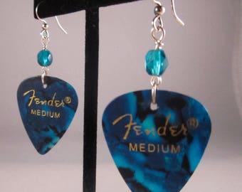 Upcycled Dark Blue Guitar Pic Earrings