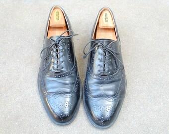 Vintage Mens 10.5e Cole Haan USA Black Leather Lace up Oxfords Brogues Wingtips Hipster High Fashion Designer Mad Men Wedding Suit Shoes Mod