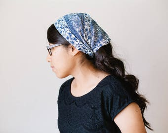 Blue & Cream Damask Short Chiffon Headcovering   Women's Headcovering Veil