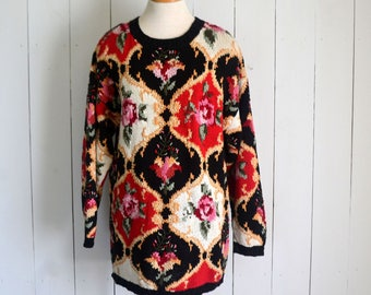 Slouchy Knit Sweater - 1980s Baroque Floral Print - Black Red White - Vintage Oversized Sweater - Folk Boho - Large L
