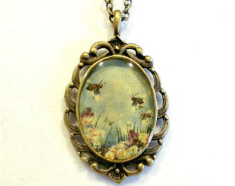 Flowers And Bumblebee Necklace Pendant Jewelry Antique Bronze